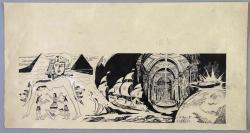 著名油畫家、中央美院教授 顏鐵錚 手繪插圖原稿一張(尺寸:18.4*34.8cm) HXTX118169