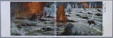 """昭和十六年(1941年)日本陆军恤兵部发行 随军漫画家铃木御水绘画版""""敌前上陆军事邮便"""" 空白明信片1枚双联 (双联件较为少见;内有""""检阅济""""字样,即有关部门检查完毕之意,是日本侵华时期制定的邮政检查制度,以""""加强防谍""""的名义,封锁其烧杀抢掠等暴行真相;尺寸:9*28cm) HXTX110577"""