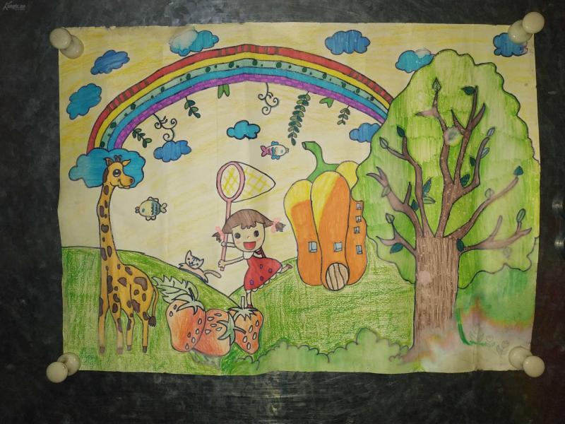 陕西师范大学教育学院毕业生早年蜡笔画,童话书插图。