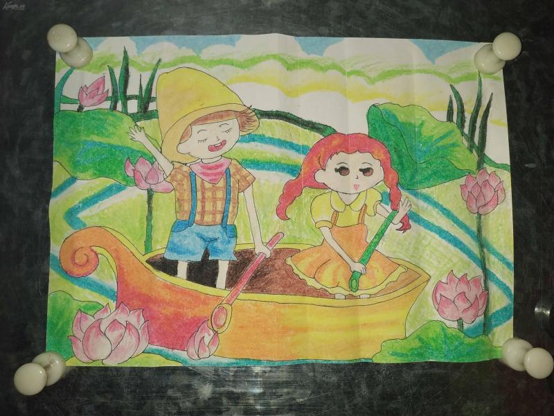 陕西师范大学教育学院毕业生早年蜡笔画,童话书插图。1