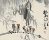 著名画家、中国当代大写意花鸟画代表人物 郭石夫(款) 1982年写意花鸟《听雨》一幅(纸本镜心绫裱,画心约1.5平尺,钤印:石夫)HXTX115793