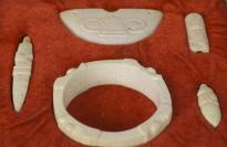 刘-征旧藏:饕餮纹 石制仿古礼器一套四件 附原盒HXTX112854