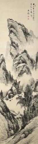 """日本南画家 大癖 大正甲子年(1924年) 水墨画作品""""空山寻友图"""" 一幅 (纸本立轴,约5.4平尺,钤印:大癖) HXTX113500"""