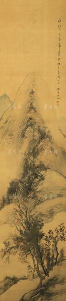 """""""日本最后的文人画家""""、日本南画院会长 松林桂月 水墨画作品""""秋山夕照"""" 一幅 (绢本立轴,约4.3平尺,钤印:笃印等) HXTX113502"""