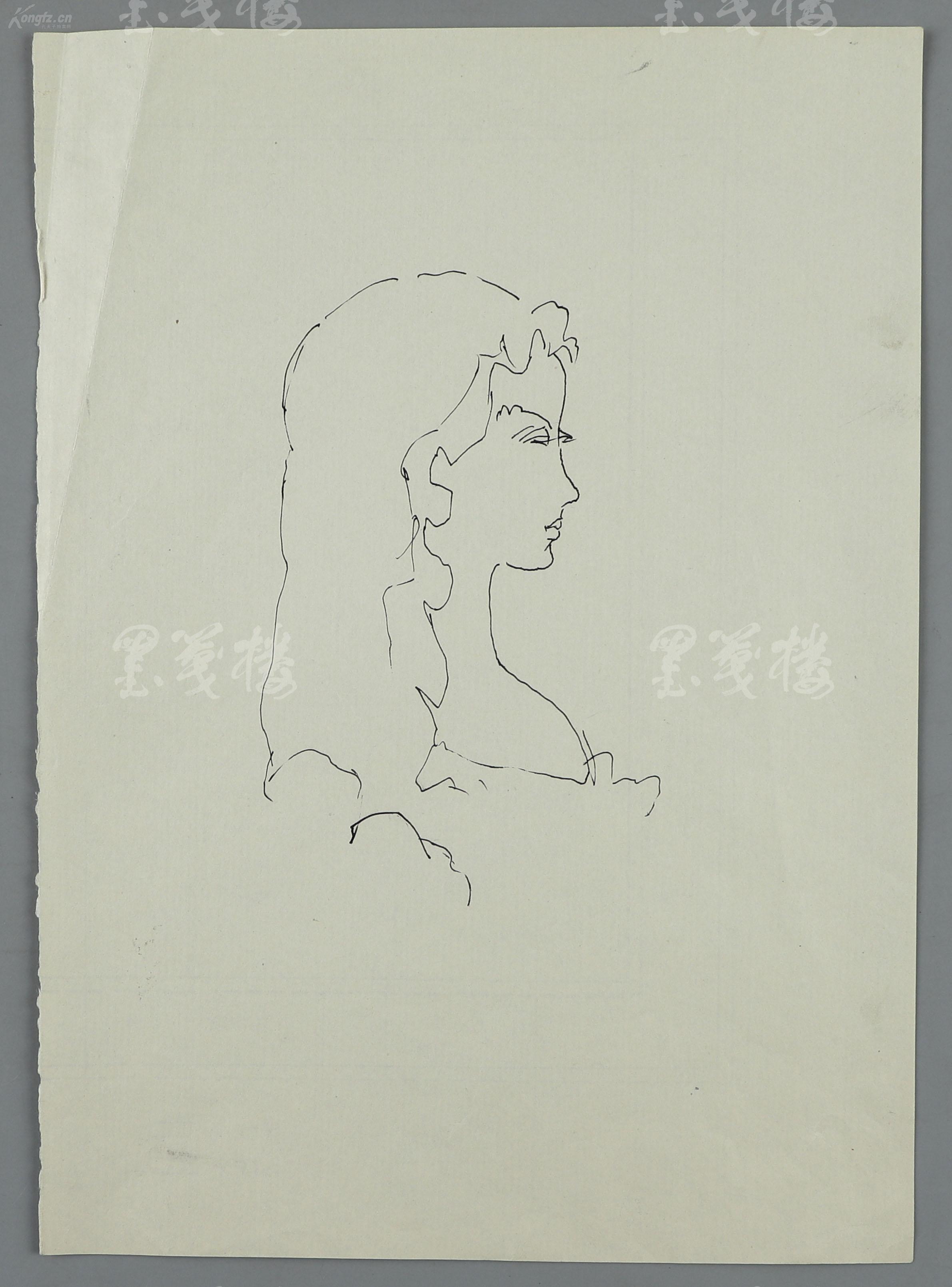 著名画家 装帧艺术家 原中国人民大学徐悲鸿艺术学院教授 张守义 绘 茶花女 封面小稿,及作者 小仲马 像两幅 纸本软片,钤印 义 HXTX117701
