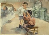 著名油畫家、上海百草畫院院長 曹有成 畫稿《代勞》一幅(尺寸:37.5*58cm)HXTX119007