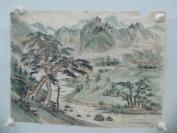 7-80年代名家畫作 山水風景田園生活一幅 30/29厘米