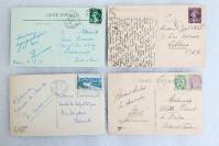 11民國至50年代 外國風景建筑 實寄明信片一組4枚 外文書寫實寄片,每枚均貼郵票!