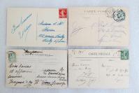 09民國時期 外國風景建筑 實寄明信片一組4枚 外文書寫實寄片,每枚均貼郵票!