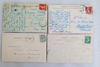 20民國時期 外國風景建筑 實寄明信片一組4枚 外文書寫實寄片,每枚均貼郵票!