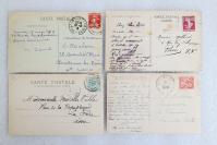 12民國時期 外國風景建筑 實寄明信片一組4枚 外文書寫實寄片,每枚均貼郵票!