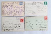 02民國時期 外國風景建筑 實寄明信片一組4枚 外文書寫實寄片,每枚均貼郵票!