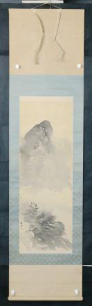 kw106s108【日本回流】原裝舊裱 清末民初(20世紀初期) 玉水款《寫意山水圖》一軸(絹本手繪,畫芯尺寸:96*34cm,鈐?。河袼。? onerror=
