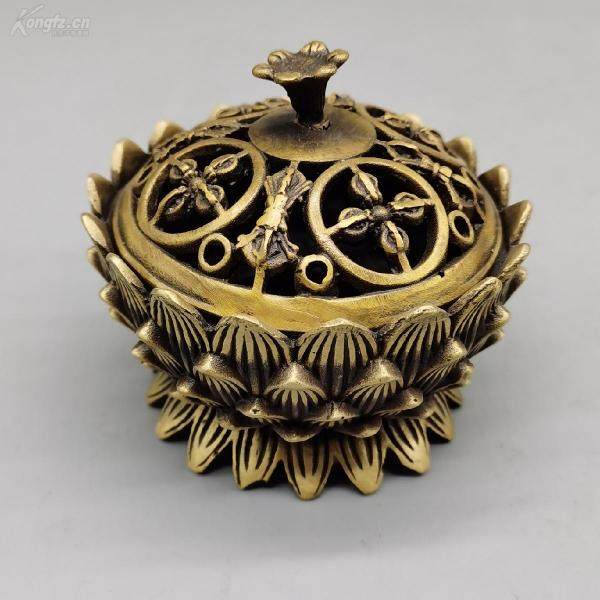 Pure copper lotus incense burner