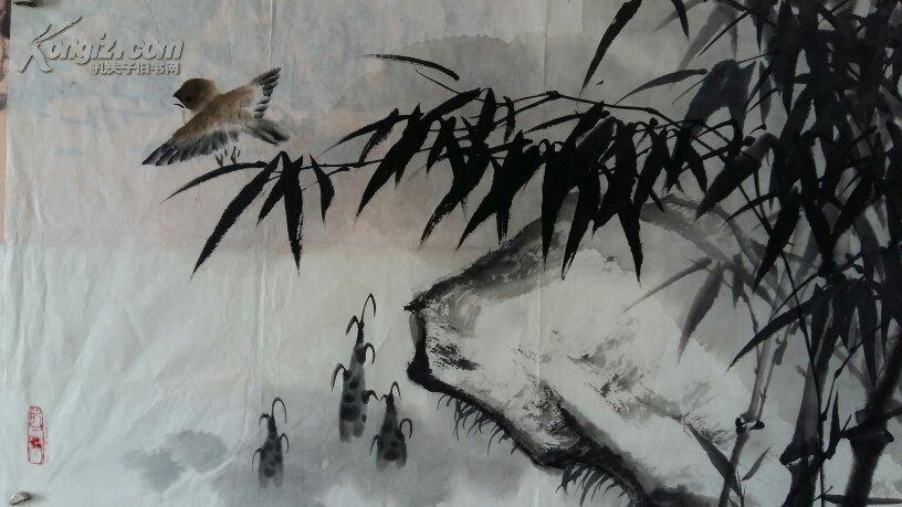 年底大促销----原100---合肥著名画家(罗崇艺)四尺对开……竹子图片