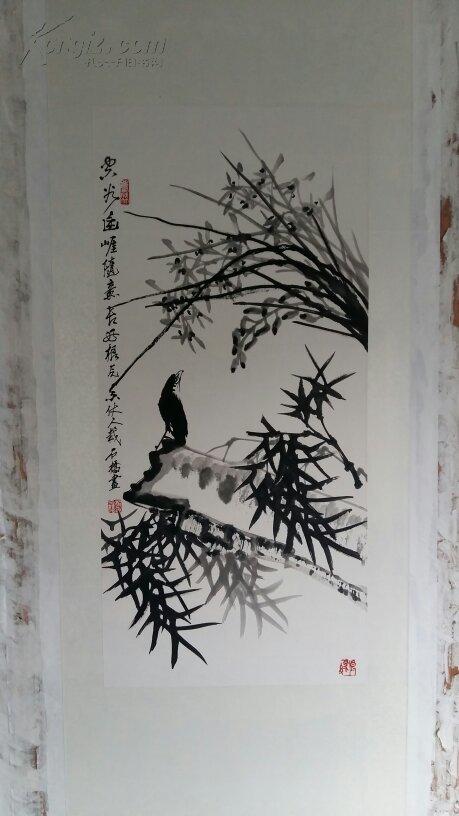 安徽著名老画家(郑石桥)四平尺……双清图……送画册一本图片