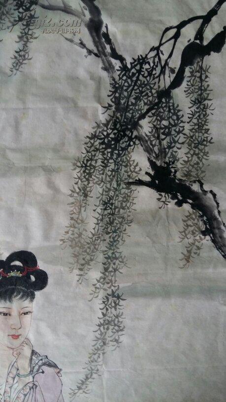 安徽著名老画家(戴维祥)五平尺……仕女……价协商图片