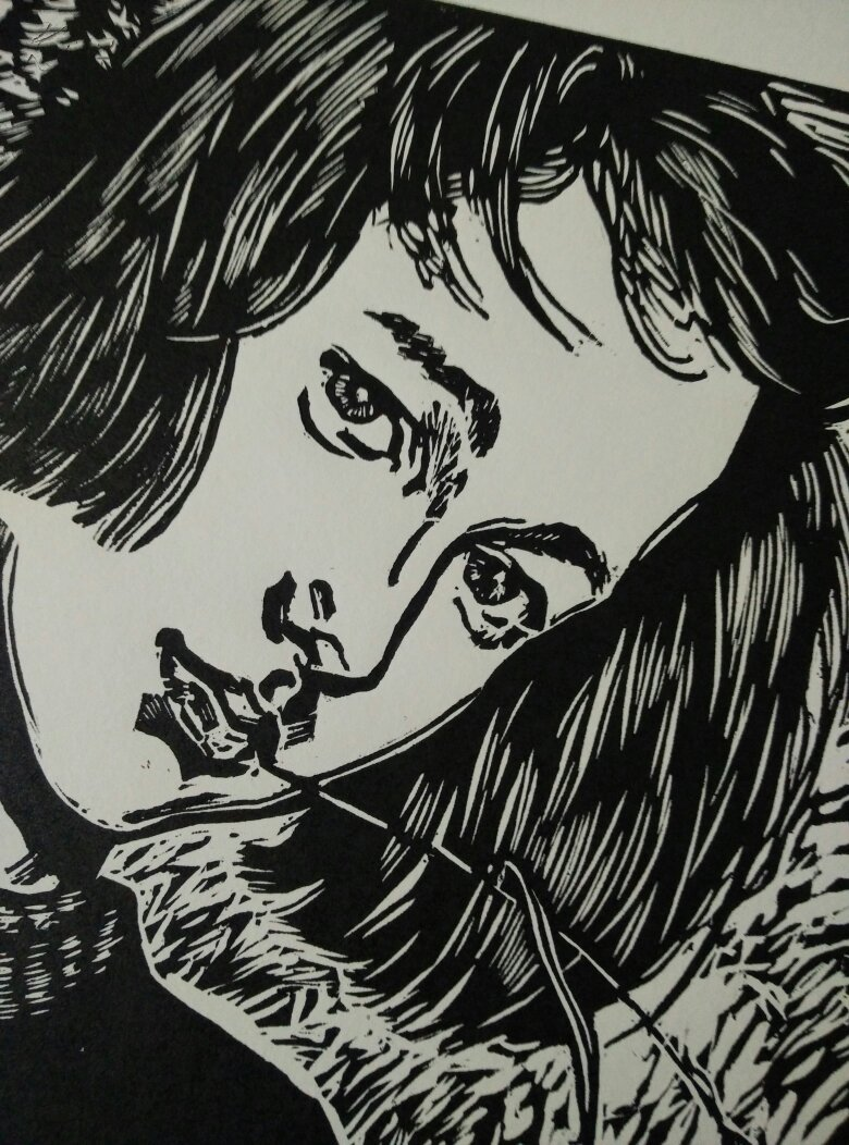 黑白木刻版画高清分享展示图片
