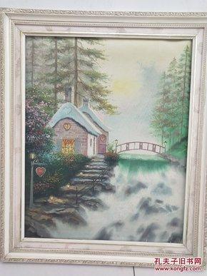 风景油画带框子