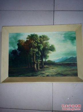 小框子木板油画风景