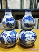 青花瓷 葫芦八角花瓶 1对