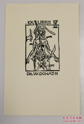 欧洲艺术家1971年签名创作《受刑的女子》精美藏书票一枚