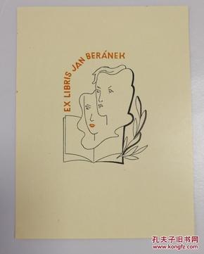 欧洲艺术家1947年签名创作《情侣头像》漂亮套色藏书票原作一枚