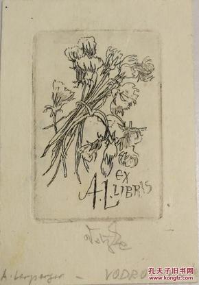 欧洲艺术家早期签名《一束花》精美铜版画藏书票一枚,尺寸为4.8*7.1㎝,正面有钱币签名书票信息,背面有圆珠笔签名信息,有轻微使用揭薄痕迹,整体品好如图,值得收藏。