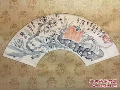 馆藏重器 被称为日本最后的文人—富冈铁斋画作 百事如意图 挂轴一件 付双重箱。真物保证