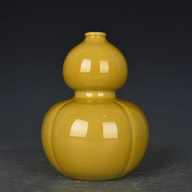 清雍正年制娇黄釉瓜棱葫芦瓶 古玩190616古董古瓷器
