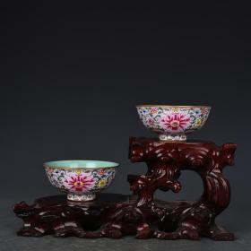 清乾隆年制粉红地珐琅彩缠枝花卉纹碗杯