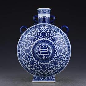 清乾隆年制青花缠枝八卦纹扁瓶壁瓶