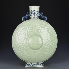 清乾隆年制青花豆青釉刻八宝纹扁瓶