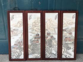 民国珠山八友何许人作雪景山水楼阁瓷板