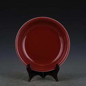 清雍正年制祭红釉盘