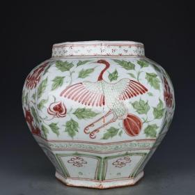 元代红绿彩孔雀牡丹纹八方罐