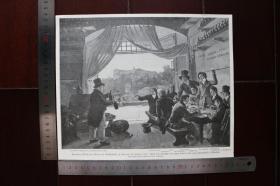 【現貨 包郵】1890年小幅木刻版畫《小聚暢飲》(小聚暢飲)尺寸如圖所示(貨號400612)