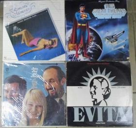 留声机專用  EVITA  PETER PAUL AND MARY  ROMANTIC MENORIES GREAT THEMES 黑胶唱片4隻 港版