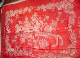 被面 绸缎 80年代 大红真丝软缎被面 【双鸟茂菊赛绵被面】老货