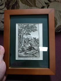 【歐洲銅版畫 圣經故事 射擊和阿曼萊尼特 為西里爾小姐 1712年】帶框