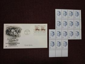 """【著名美國影星、摩納哥王妃 格蕾絲?凱莉(Grace Kelly)親筆簽名】簽于1981年5月18日美國發行的""""Surrey 1890s USA18c""""郵票紀念首日封 附贈美國1993年發行的格蕾絲?凱莉逝世十周年紀念郵票16方連(全新,帶邊紙,雕刻版,非常精美)"""