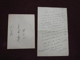 【法國著名作家、法蘭西院士 亨利?德?蒙泰朗(Henry de Montherlant)親筆信札一通一頁(正反面)附封】