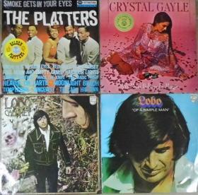 留声机專用 CRYSTAL GAYLE   LOBO THE PLATTERS 黑胶唱片4隻 港版