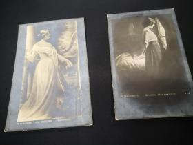 古典美女明信片  大約80-100年前的  側影一張  背影一張