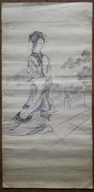 手繪真跡素描:無款老素描仕女圖二(厚紙 年代不詳)