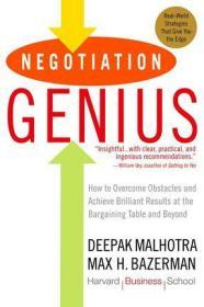 英文原版 哈佛经典谈判术 Negotiation Genius: How to Overcome Obstacles and Achieve Brilliant Results