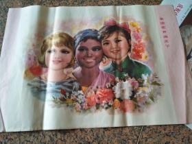 B259、友誼花開遍天下-施福國-作,上海人民美術版社1978年.規格2開,9品。