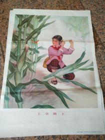 B251、上學路上,段小琴,丁世謙作。人民美術出版社出版、山西出版社重印。1976年6月一版1印.規格2開95品。