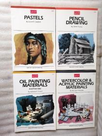 ABOUT THE ARTIST【OIL PAINTING MATERIALS+WATERCOLOR & ACRYLC PAINTING  MATERIALS+PASTELS+PENCIL DRAWING【4本合售】英文版 小16开