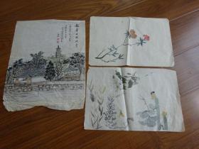 黃賓虹學生,常州藉著名老畫家方.正(有.無款國畫3幅)2:龍華公園池旁等